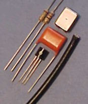 Knowles BA1501, resistors, .1mfd capacitor,  RG174 cable and 2N3391A